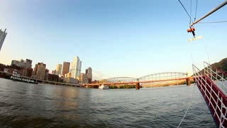 Pittsburgh Skyline Fisheye View from Monongahela River
