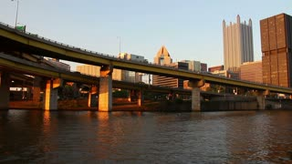 Pittsburgh Skyline at Sunset as Seen from Monongahela River