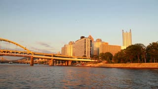 Pittsburgh Skyline at Sunset as Seen from Allegheny River