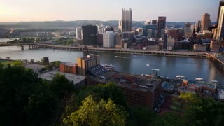 Pittsburgh Skyline Tilt Up Establishing Shot