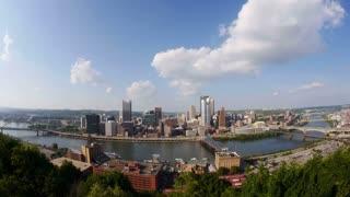 Pittsburgh Skyline Tilt Up Fish Eye Lens