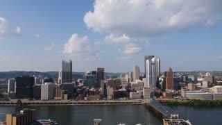 Pittsburgh Skyline Tilt Up Establishing Shot