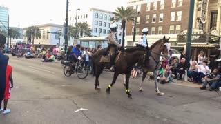 Police on Horseback Patrol a Mardi Gras Parade Route 4090