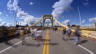 Roberto Clemente Bridge Pedestrians Timelapse