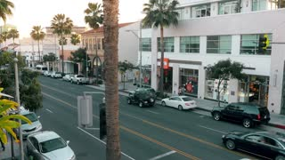 Rodeo Drive Establishing Shot at Dusk