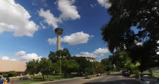 SAN ANTONIO, TX - Circa September, 2016 - A driver's perspective on the streets of San Antonio, Texas with the Tower of the Americas in the distance.