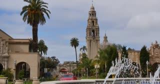 SAN DIEGO, CA - Circa February, 2017 - A daytime establishing shot of California Tower on El Prado in Balboa Park.