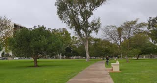 SAN DIEGO, CA - Circa February, 2017 - A daytime overcast establishing shot of people enjoying Balboa Park in San Diego.