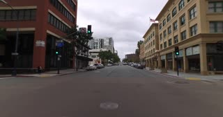 SAN DIEGO, CA - Circa February, 2017 - A driver's perspective on the streets of downtown San Diego.