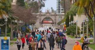 SAN DIEGO, CA - Circa February, 2017 - Visitors walk along the El Prado midway in San Diego's Balboa Park.