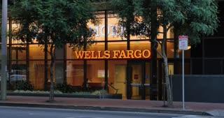 SAN FRANCISCO, CA - Circa October, 2016 - An establishing shot of a branch of the Wells Fargo Bank in downtown San Francisco.
