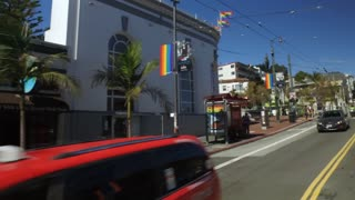 SAN FRANCISCO, CA - Circa October, 2016 - Driving past the gay-friendly businesses on Castro Street in San Francisco.