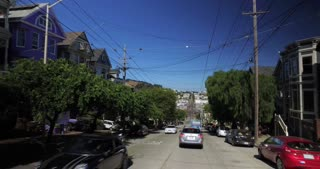 SAN FRANCISCO - Circa October, 2016 - A driver's perspective on the residential streets of San Francisco near Castro Street.