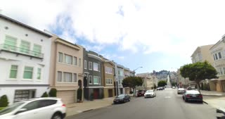 SAN FRANCISCO - Circa October, 2016 - A driver's perspective on the residential streets of San Francisco.