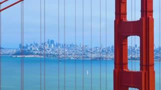 SAN FRANCISCO - Circa October, 2016 - A static establishing shot of the city as seen through the Golden Gate Bridge on a foggy overcast day.
