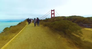 SAN FRANCISCO - Circa October, 2016 - A timelapse walking view of people visiting the Golden Gate Vista Point Overlook on a foggy overcast day.