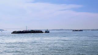Scrap Barge in New York Harbor