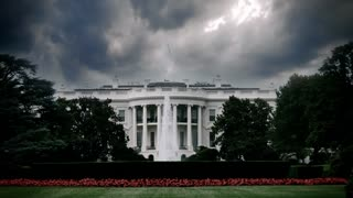 Storm clouds over the White House in Washington, D.C.
