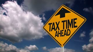 Tax time ahead roadsign background plate