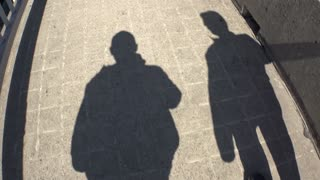 The shadows of two people walking.