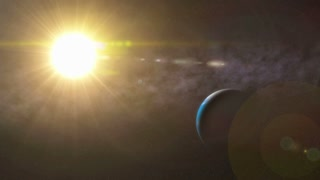 Sun and Earth in Space Animation Background
