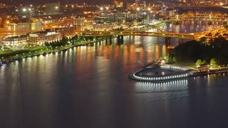 Timelapse view of fishing boats congregating at The Point in Pittsburgh then dispersing.