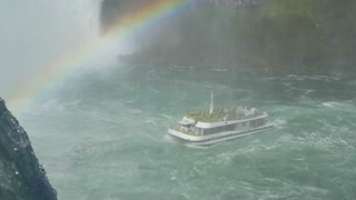 Tourists aboard the riverboat, Hornblower, approach the Horseshoe Falls at Niagara Falls.
