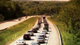 Traffic on highway High angle Shot