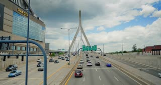 Traffic on the Leonard P. Zakim Bunker Hill Bridge over the Charles River in Boston.