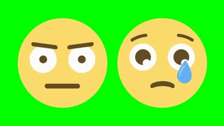 Two custom looping animated Facebook-style social media emoticons illustrating the angry and sad emotions.