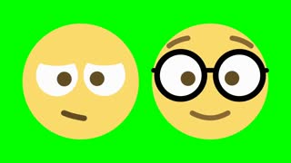 Two custom looping animated social media emoticons illustrating sleepy and nerdy characteristics.
