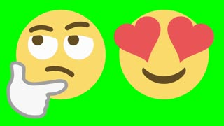 Two custom looping animated social media emoticons illustrating the skeptical and love emotions.