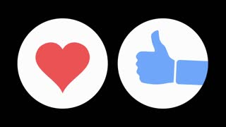 Two social media emoji-like icon animations portraying the love and like expressions. Luma mattes included for changing the color of the animations and circles.
