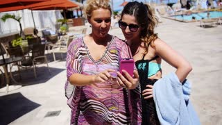 Two Woman Take Self Portrait with Mobile Phone, Outdoors HD 3053