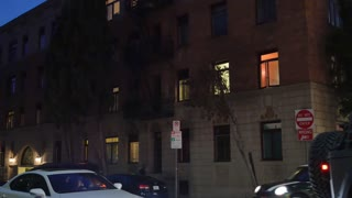 Typical Manhattan Style Apartment Building Establishing Shot at Night
