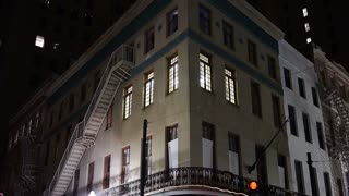 Typical New York Style Apartment Building Establishing Shot at Night 4079