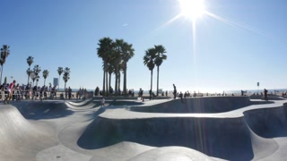 Venice Beach Skate Park Establishing Shot