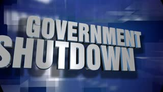 A blue dynamic 3D Government Shutdown transition and title page animation. 5 and 2 second options included with optional luma matte for both.