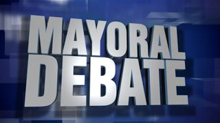 A blue dynamic 3D Mayoral Debate transition and title page animation. 5 and 2 second options included with optional luma matte for both.