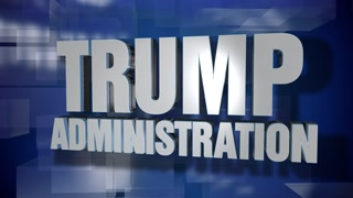 A blue dynamic 3D Trump Administration transition and title page animation. 5 and 2 second options included with optional luma matte for both.