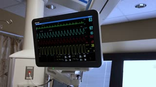A fictional hospital medical computer scanner screen monitoring a patient's heart. Loopable.
