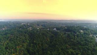 A foggy morning aerial establishing shot of the Western Pennsylvania landscape.