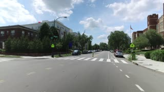A forward perspective driving in a typical Capitol Hill business district in Washington DC.