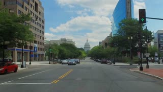 A forward perspective driving on New Jersey Avenue headed to the Capitol Building in Washington DC.