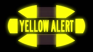 A looping science fiction YELLOW ALERT monitor warning screen. With optional luma matte.