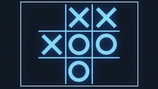 A looping simulation of an artificial intelligence (A.I.) computer system learning that tic tac toe is a pointless game. The only winning move is not to play.