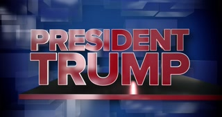 A red and blue dynamic 3D President Trump news title page animation.