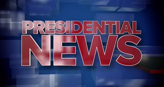A red and blue dynamic 3D Presidential News title page animation.