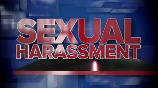 A red and blue dynamic 3D Sexual Harassment title page background animation.