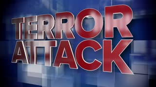 A red and blue dynamic 3D Terror Attack title page background animation.